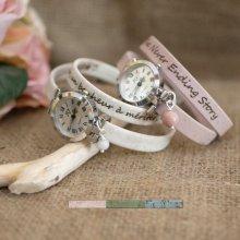 Montre argent bracelet en liège 2 tours fermoir ajustable
