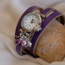 Montre cuir Violet cascade de perles nacrées à personnalisation