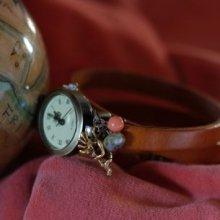 Montre bracelet triple cuir Caramel Kokopelli