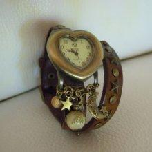 Montre bracelet cuir double Marron cadran coeur