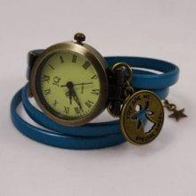Montre bracelet double cuir turquoise décor ange