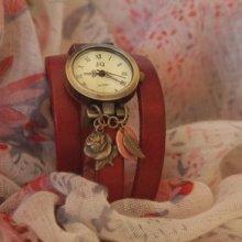 Montre bracelet triple cuir Rouge décor Rose