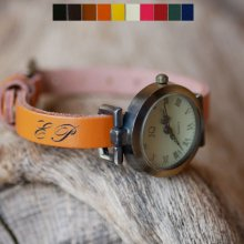 Montre bracelet cuir initiales gravées