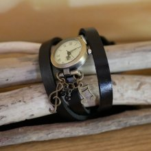 Montre Musique au bracelet triple tour cuir au choix