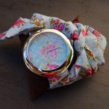 Montre fleurie ciel & rose au bandeau à nouer