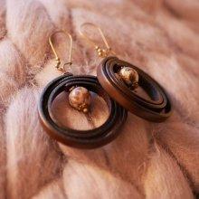 Boucles d'oreilles en cuir perle en pierre beige
